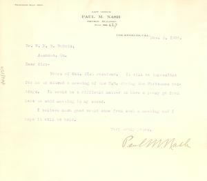 Letter from Paul M. Nash to W. E. B. Du Bois