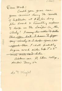 Letter from W. E. B. Du Bois to Monroe N. Work