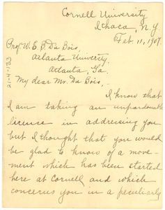 Letter from Hallie E. Queen to W. E. B. Du Bois