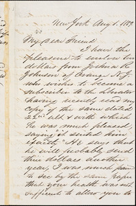 Letter from Cornelius Bramhall, New York, [New York], to William Lloyd Garrison, 1859 Aug[ust] 1