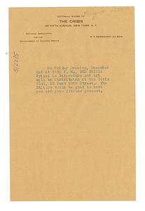 Invitation from W. E. B. Du Bois to unidentified correspondent