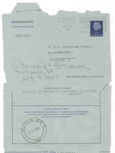 Aerogramme from Margrit de Sablonière to W. E. B. Du Bois