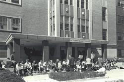 Demonstration in support of 150 black students in sit-in at the Administration Building, April 1968