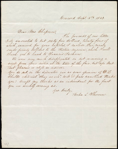 Letter from Helen L. Thoreau, Concord, [Mass.], to Maria Weston Chapman, Sept. 4th, 1843