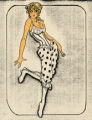 Costume design drawing, showgirl in bloomers and corset, Las Vegas, June 5, 1980