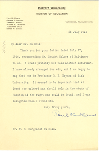 Letter from Paul H. Hanus to W. E. B. Du Bois