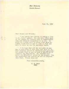 Circular letter from Fisk University to W. E. B. Du Bois
