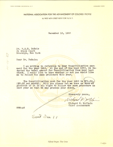 Letter from NAACP to W. E. B. Du Bois
