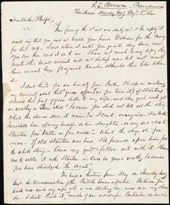 Leter from John Edwin Brown, Providence, to Amos Augustus Phelps, Augt 8/36