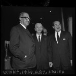 "Thurgood Marshall, Hyman Rickover and Newton Minow at convocation ""Prospects for Democracy"" at Beverly Hilton, Calif., 1963"