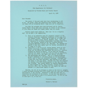 Letter to N.E.F.C. (New Experiences for Children) members suggesting potential action items in the aftermath of Martin Luther King, Jr.'s assassination