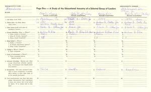 Student family histories: Jones, Vera