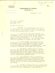 Letter from United States Dept. of Justice to W. E. B. Du Bois
