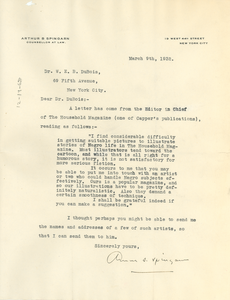 Letter from Arthur B. Spingarn to W. E. B. Du Bois