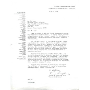 Letter, Pat Leon, July 13, 1976.