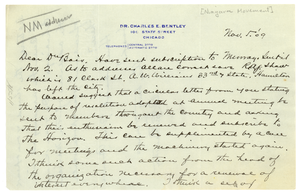 Letter from Charles E. Bentley to W. E. B. Du Bois