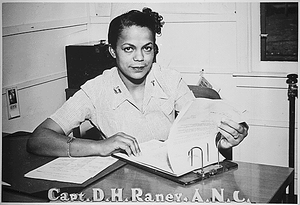 """Capt. Della H. Raney, Army Nurse Corps, who now heads the nursing staff at the station hospital at Camp Beale, CA, has the distinction of being the first Negro nurse to report to duty in the present war..."""