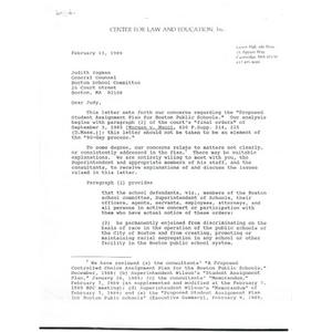 Letter, Judith Yogman, February 13, 1989.