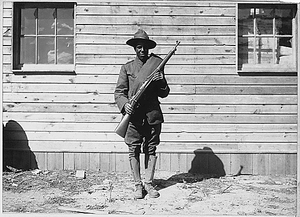 [African American] member of the telephone and telegraph battalion at Camp Upton, Long Island.