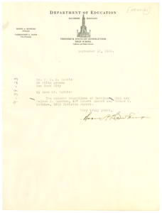 Letter from Mason A. Hawkins to W. E. B. Du Bois