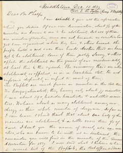 Letter from Edward Royal Tyler, Middletown, [Connecticut], to Amos Augustus Phelps, 1837 Dec[ember] 12