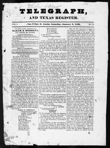 Telegraph and Texas Register (San Felipe de Austin [i.e. San Felipe], Tex.), Vol. 1, No. 12, Ed. 1, Saturday, January 9, 1836 Telegraph and Texas Register