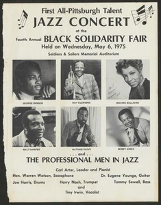 Advertisement for the First All-Pittsburgh Talent Jazz Concert at the Fourth Annual Black Solidarity Fair, May 6, 1975 [Clipping: {{{article title}}}] ROYELD_043