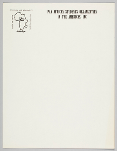 Letterhead of the Pan African Students Organization in the Americas, Inc.