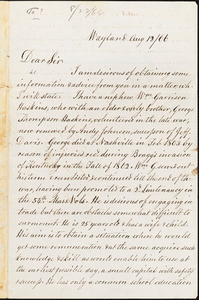 Letter from David Lee Child, Wayland, [Massachusetts], [18]66 Aug[ust] 12