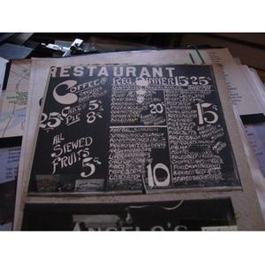 Angelo's Restaurant's dinner menu.