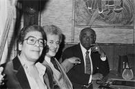 Ray Barretto, Tito Puente, and Machito at a party for Charlie Palmieri at Beau's, the Bronx, 1980