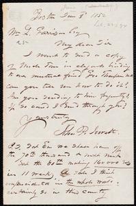 Letter from John Punchard Jewett, Boston, [Mass.], to William Lloyd Garrison, June 3 1852