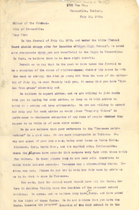 Letter from H. A. Perry to the editor of the Evansville Journal