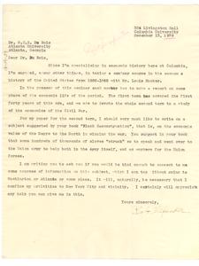 Letter from Bob Alexander to W. E. B. Du Bois