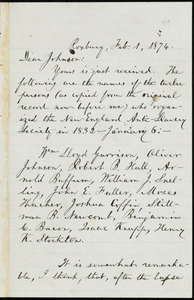 Letter from William Lloyd Garrison, Roxbury, [Mass.], to Oliver Johnson, Feb. 1, 1874