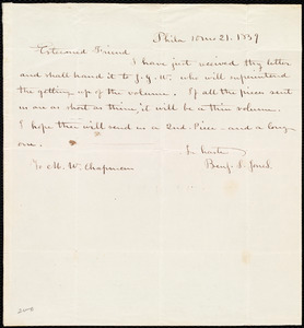 Letter from Benjamin Smith Jones, Philad[elphi]a, [Penn.], to Maria Weston Chapman, 10 mo[nth] 21 [day] 1839