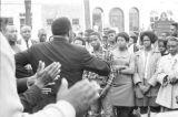 Hosea Williams addressing a crowd in downtown Eutaw, Alabama.
