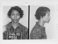 Mississippi State Sovereignty Commission photograph of Patricia Bryant following her arrest for her participation in a Freedom Ride, Jackson, Mississippi, 1961 June 9
