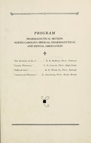 Program of the ... annual session of the North Carolina Medical, Pharmaceutical and Dental Association [serial], 38th(1925)