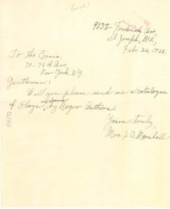 Letter from Mrs. J. C. Marshall to The Crisis