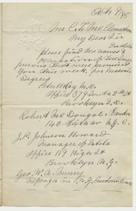 Letter from Peter W. Ray to Charles T. McClenachan, 1895 October 9