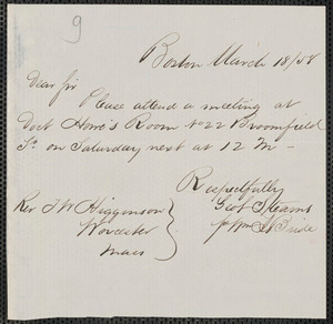 William J. Bride autograph note signed to Thomas Wentworth Higginson, Boston, 18 March 1858