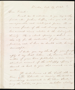 Letter from William Lloyd Garrison, Boston, [Mass.], to Henry Egbert Benson, Oct. 19, 1831