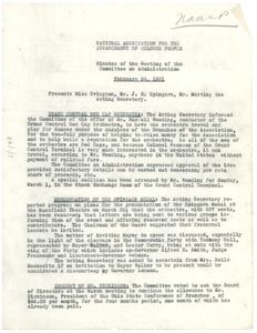 Minutes of the meeting of the NAACP Committee on Administration