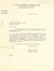 Letter from U.S. Works Project Administration to Ira de Augustine Reid