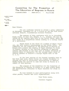 Circular letter from Committee for the Promotion of the Education of Negroes in Russia to W. E. B. Du Bois