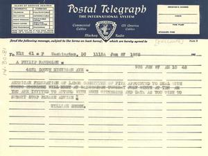 Telegram from William Green to Brotherhood of Sleeping Car Porters