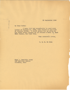 Letter from W. E. B. Du Bois to A. Geraldine Avery