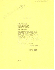 Letter from Hugh H. Smythe to Alfred A. Knopf, Inc.