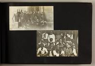Two photos of groups of male students; one in suits outside Llenroc, the other in vaudeville-like costumes (including blackface makeup)